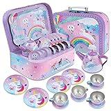 Jewelkeeper 15 Piece Kids Pretend Toy Tin Tea Set