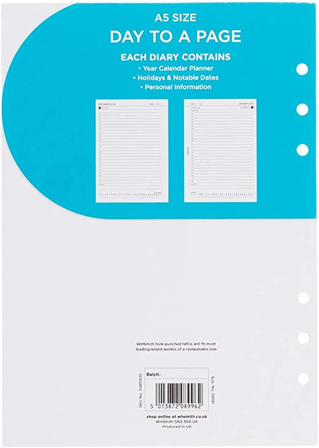 WHSmith Mini 2 Week To View 2021 Diary Refill Calendar Planner Hole-Punched