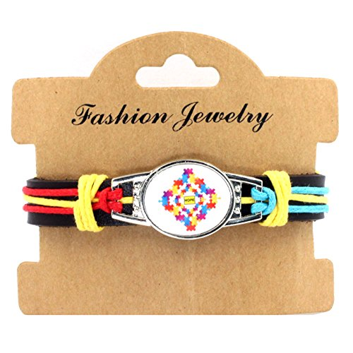 Sykdybz 100% Hand Woven Leather Autistic Bracelet, Four Quarter Wreath Bracelet,Three