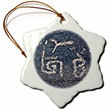 3dRose orn_88031_1 Arizona, Petroglyphs at Taliesin West-Us03 Mde0030-Michael Defreitas-Snowflake Ornament, 3-Inch, Porcelain