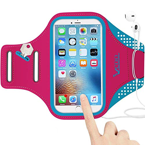 Workout Armband for iPhone 7 8 Plus, VCOO iPhone 6s/6 Plus Arm Band for Sports, Running Holder for Samsung Galaxy LG HTC Nokia Moto with 5.5 Inch Screen (Red)