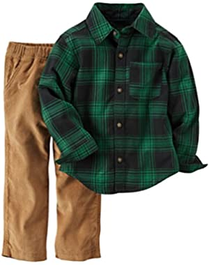 Carter's Boys Baby 2 Piece Playwear Pant Set Green Plaid Corduroy 18 Months