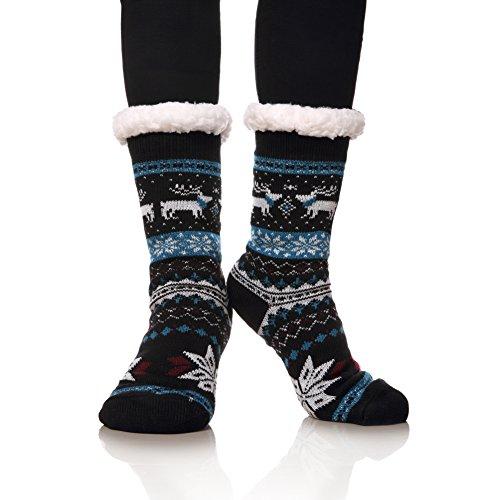 MIUBEAR Super Soft Christmas Deer Slipper Socks for Women Warm Cozy Fuzzy Fleece-lined Winter Socks (Blue) ()