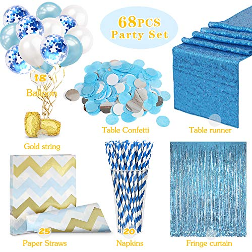 QueenDream Party Supplies Aqua Blue Sequin Table Runner Light Blue Fringe Curtain Backdrop Kit Party Supplies Set Party or Baby Shower Decor ()