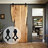 CCJH Rhombic American Country Style Sliding Track Hardware Kit Barn Wood Door A Set 8 Ft/2.44m Black