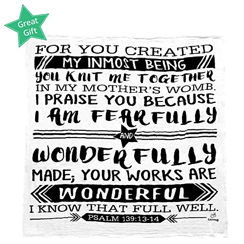 2 Boutique Baby Burp Cloths - Muslin Swaddle Blanket for Baby - Baptism, Baby Shower Gift - 100% Organic Cotton Boutique Quality Newborn Christening Psalm 139:13-14