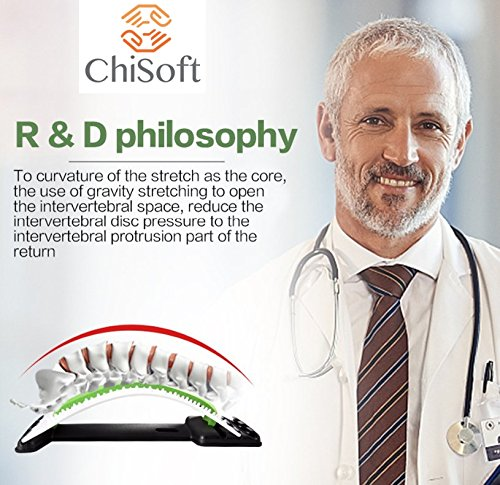 Best Arched Back Stretcher As Seen Doctors TV - CHISOFT (2nd Edition) Lumbar Stretching Device + Extra Cushion Foam + Trigger Point Massage Ball, Improve Posture, Sciatica Back Pain Relief by CHISOFT (Image #4)