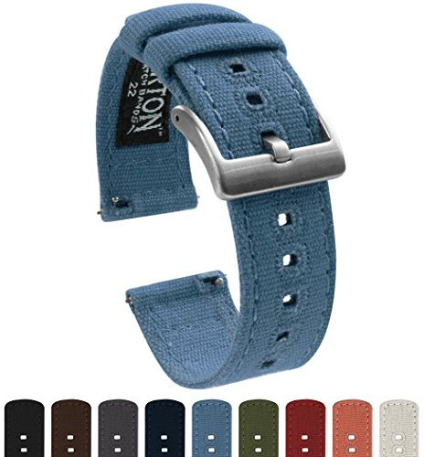 BARTON Canvas Quick Release Watch Band Straps - Choose Color & Width - 18mm, 20mm, 22mm - Nantucket Blue 22mm