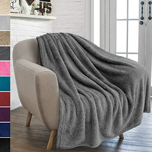 - PAVILIA Plush Sherpa Throw Blanket for Couch Sofa | Fluffy Microfiber Fleece Throw | Soft, Fuzzy, Cozy, Lightweight | Solid Grey Blanket | 50 x 60 Inches