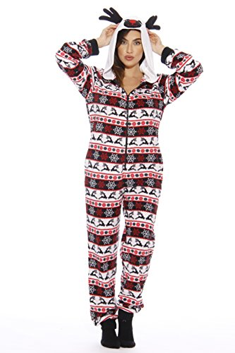 6253 - M Just Love Adult Onesie / Pajamas, Reindeer New, Medium