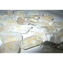 Marvelous Fantastic Natural Crystal Quartz Points 25 Rune Stones Top Quality A++ Gemstones Elder Futhark Norse Handcrafted Handmade Agate Magic Crystal Engraved Letter Body Velvet Pouch Chakras Reiki Gift New Age Metaphysical Esoteric Massage Set Round Crystal Gemstone Engraved Healing Chakra Balancing