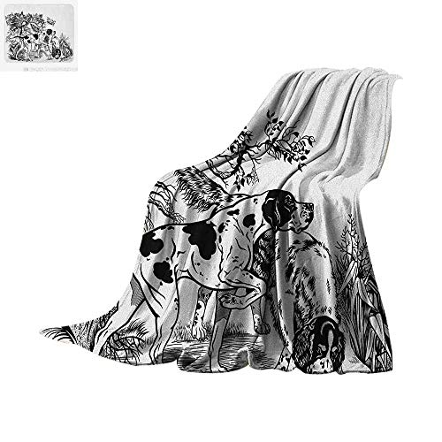 Luoiaax Hunting Warm Microfiber All Season Blanket Hunting Dogs in The Forest Monochrome Drawing English Pointer and Setter Breeds Summer Quilt Comforter 62