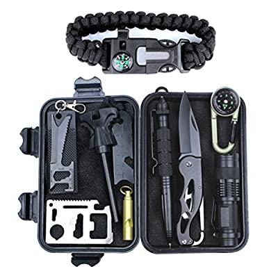 HSYTEK Survival Gear Kit 11 in 1,Professional Outdoor Emergency Survival Kit with Tactical Pen Bracelet Temperature Compass Fire Starter Flashlight for Camping, Hiking,Travel or Adventures Necessary