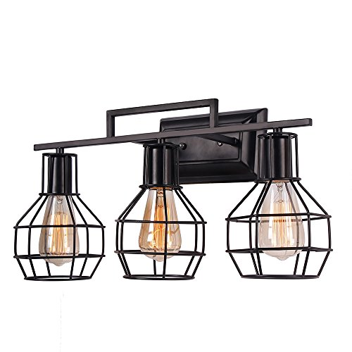 Anmire Wall Sconce Light Rustic and Retro Antique Vintage Metal Frame Lighting Fixtures Hanging with Edison Decorative Lamp Black Iron Net Cage Industrial Luminaire for Bedroom Bathroom(3 (Iron Bathroom Lamp)