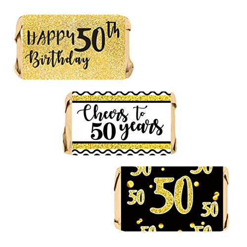 INNORU 50th Birthday Party Mini Candy Bar Wrappers,Cheers to 50 Years Candy Stickers, Black and Gold, Pack of 60 Stickers -
