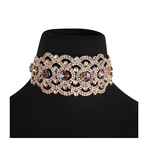 Jewelry Costume Formal (Holylove Novelty Choker Necklace for Women Costume Jewelry Formal Party Daily Accessory Colorful Crystal Rhinestone Gold Chain 1pc with Gift Box - N53 Colorful)