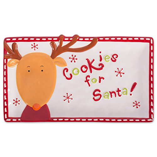 DII Cookies for Santa Christmas Cookie Serving Platter Holiday Christmas Décor - Red Reindeer