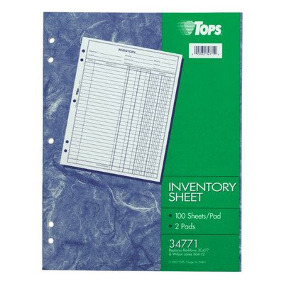 Inventory Sheet (Set of 36)