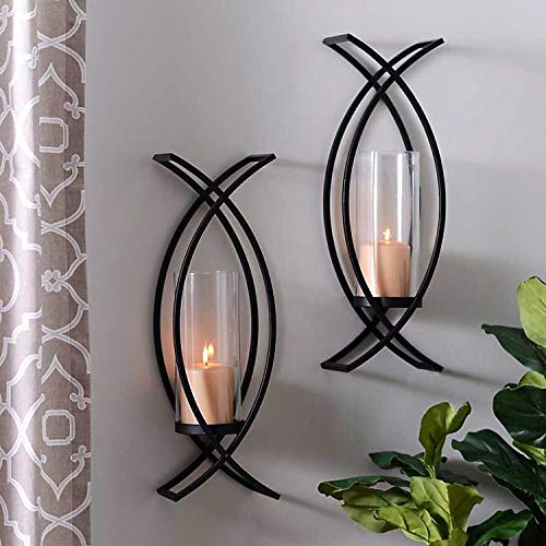 Set of Two Metal Wall Sconces Home Decor
