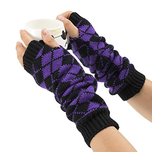 Aland Winter Women Rhombic Print Fingerless Long Gloves Arm Warmer Knitted Mittens Purple by Aland (Image #3)