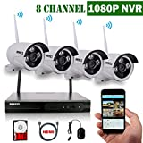 OOSSXX 8-Channel HD 1080P Wireless Network/IP Security Camera System(IP...