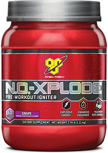 BSN N.O.-XPLODE Pre-Workout Supplement with Creatine, Beta-Alanine, and Energy, Flavor: Grape, 60 Servings