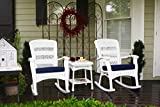 Tortuga Outdoor 3 Piece Portside Plantation Rocking Chair rockers with 1 side table (Set of 2), White Coastal