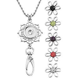 Souarts Womens Office Lanyard ID Badges Holder Necklace with 5pcs Flower Snap Charms Jewelry Pendant Clip