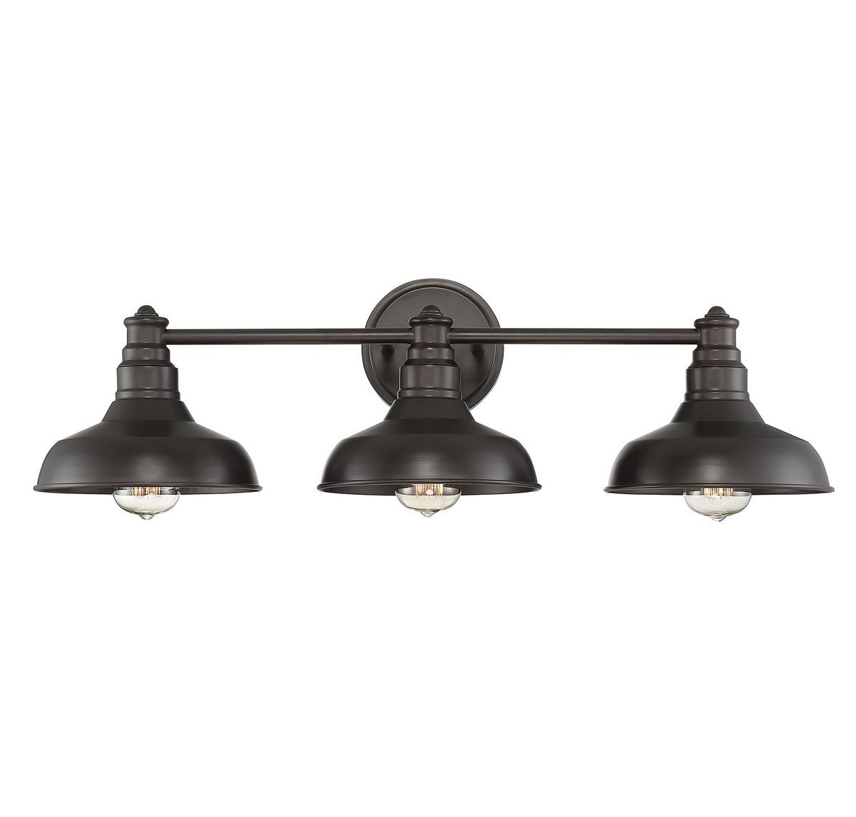 Trade Winds Lighting TW80019ORB Industrial Barn Metal 3 Light Metal Shade Bath Vanity Wall Sconce, in Oil Rubbed Bronze
