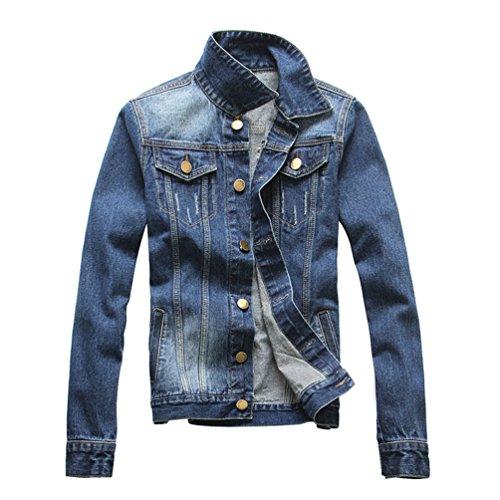 Yougao Men's Classic Denim Jean Jacket Blue S