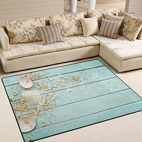 ALAZA Seashells Frame on Wooden Area Rug Rugs for Living Room Bedroom 7'x5' (Beach Outdoor Rugs)