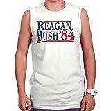 reagan bush 84 tank white - Brisco Brands Ronald Reagan George Bush 84 Campaign Shirt | USA Cool Gift Sleeveless Tee