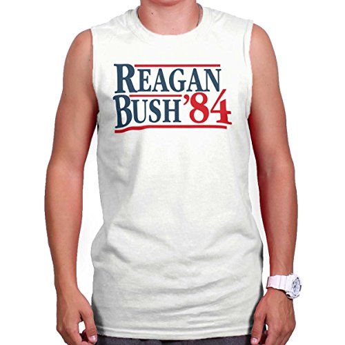 Brisco Brands Ronald Reagan George Bush 84 Campaign Shirt | USA Cool Gift Sleeveless Tee (George Bush Usa Flag)