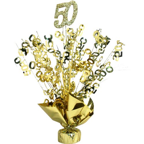 (Party Deco 50th Anniversary Weighted Gold Centerpiece (Qty)