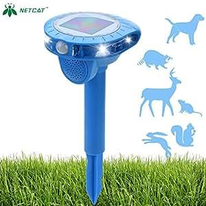 NETCAT Solar Animal Repeller Cat Dog squirrel Repeller Outdoor Sonic Animal Repeller Fox Deer Rodent Pest Repellent with waterproof IP44 PIR Sensor for Farm Yard Garden 1
