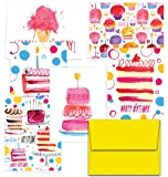 Perfectly Painted Birthday - 144 Birthday Cards - 6 Designs - Blank Cards - Yellow Envelopes Included