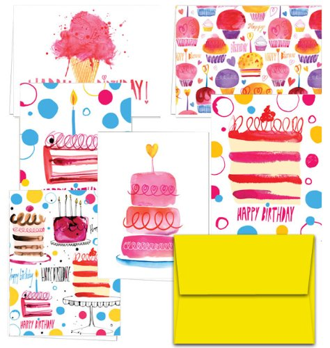 - Perfectly Painted Birthday - 144 Birthday Cards - 6 Designs - Blank Cards - Yellow Envelopes Included