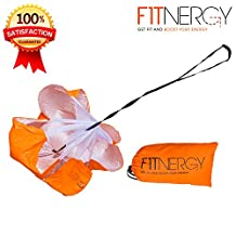 """RUNNING Resistance PARACHUTE By F1TNERGY Durable Top Quality 56"""" ORANGE Speed Sprint Training Chute - FREE Carrying Bag - Maximize & Explosive Acceleration - Soccer Football Agility Ladder Speed Rope"""