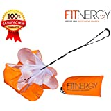 """F1TNERGY Running Resistance Parachute Durable 56"""" Orange Speed Sprint Training Chute - Free Carrying Bag – Maximize & Explosive Acceleration - Soccer Football Agility Ladder Speed Rope"""