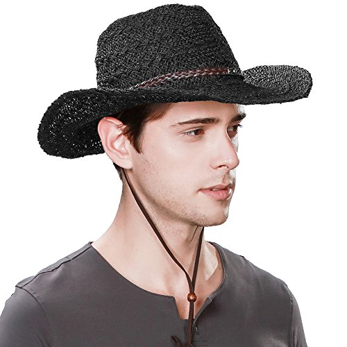 Jeff & Aimy Mens Western Outback Leather Cowboy Cowgirl Straw Sun Hat for Men Packable with Chin Strap Black