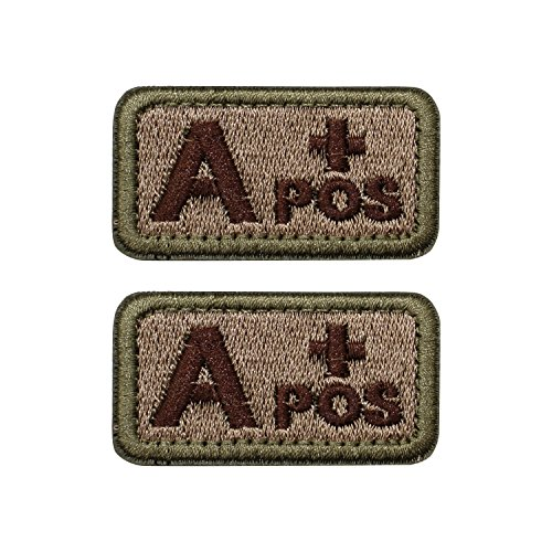EJG Bundle 2 pieces-Tactical Blood Type Patches -Type A Positive - 2x1 (A+ Brown Embroidery)