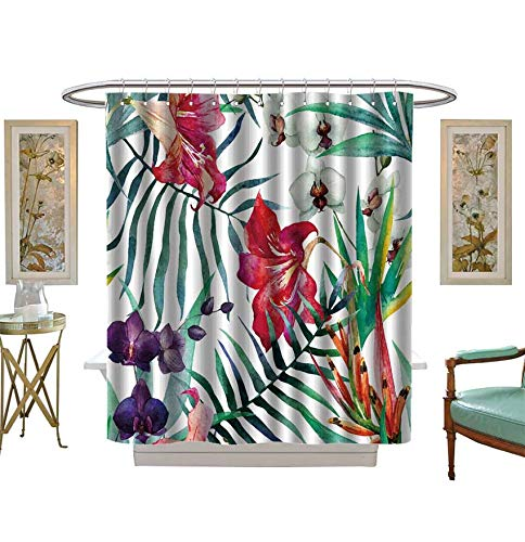 Shower Curtains 3D Digital Printing Watercolor,Tropical,Pattern,Wallpaper,Background,Birds of Paradise,Orchids Bathroom Set with Hooks Size:W48 x L72 inch ()