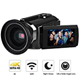 4K Camcorder, LAKASARA Video Camera Camcorders 48.0MP Ultra HD Digital Cameras Video Recorder with Wifi and Infrared Night Vision 3'' LCD Touchscreen External Wide Angle Lens (HDV-534K Black)