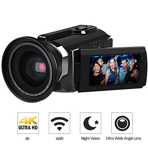 "4K Camcorder, LAKASARA Video Camera Camcorders 48.0MP Ultra HD Digital Cameras Video Recorder with Wifi and Infrared Night Vision 3"" LCD Touchscreen External Wide Angle Lens (Black)"