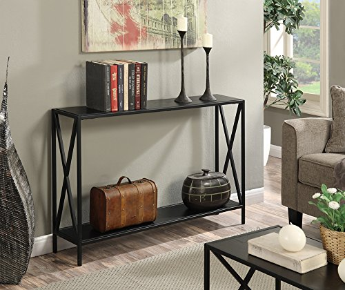 Convenience Concepts Tucson Console Table, Black - Tucson Collection Powder coated metal X-frame Available in multiple finishes - living-room-furniture, living-room, console-tables - 51K0Pc91diL -