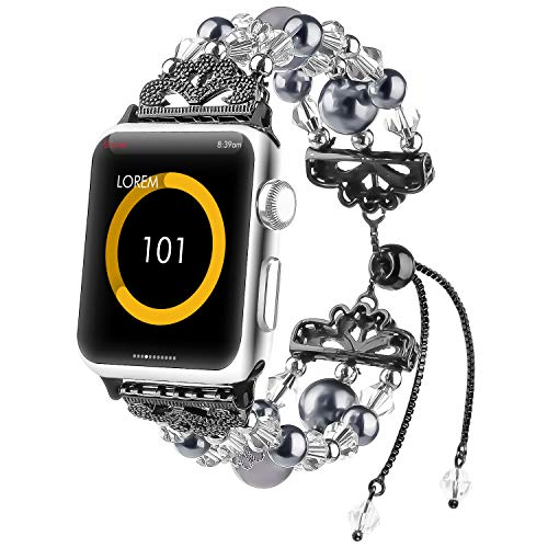 Cute Series - Fohuas Compatible for Apple Watch Band 38mm 40mm Series 4 3 2 1, Crystal Beads Handmade Pearls iWatch Bracelet Adjustable Elastic Jewelry Wristband for Women Girl, Black [Updated Style]