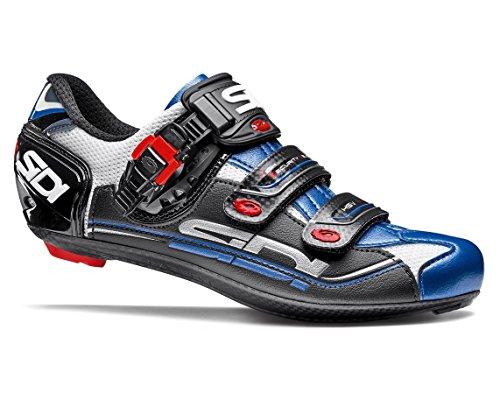 リサイクルするマルコポーロクラシカルSIDI(シディ) Genius 7 Carbon Road Cycling Shoes - White/Blue [並行輸入品]