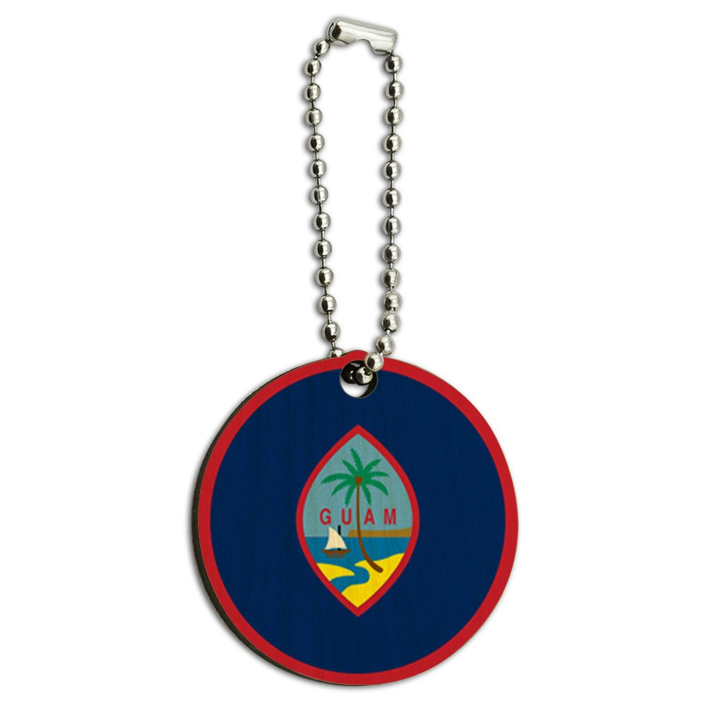 Guam National Country Flag Wood Wooden Round Key Chain