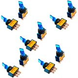 """uxcell® 12VDC 20A Two Position ON/OFF SPST 0.47"""" Mount Blue Light Toggle Switch 10 Pcs"""