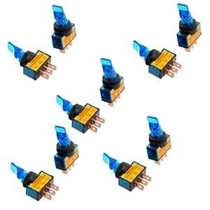 "SODIAL(R) 10 x Interruptor de Palanca Luz Azul 12V CC 20A Dos Posicion ON/OFF SPST 0.47"""